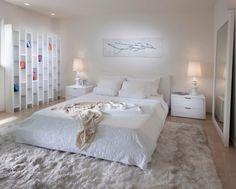 schlafzimmer modern gestalten neutrale farben wei creme holzboden ... - Schlafzimmer Creme Gestalten