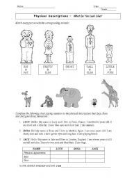English worksheet: Physical Descriptions Picture