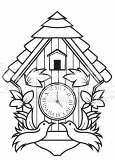 Create Your Own Cuckoo Clock, Digital Print Coloring Page
