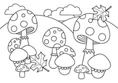 Nature nice mushroom coloring page for kids, printable