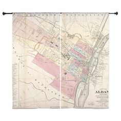 "Vintage Map Of Albany NY 1874 60"" Curtains Vintage Maps Maps"