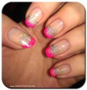 hot neon pink tips summer french