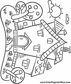 Printable house coloring page. Free PDF download at http
