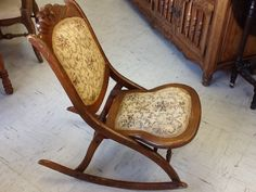antique victorian folding rocking chair teak late 1800's sewing chair, furniture, vintage shabby cottage chic ...