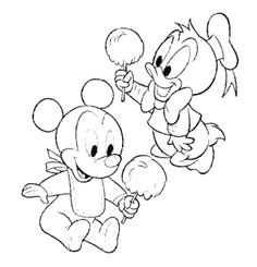 Cartoon Design Baby Mickey Mouse and Minnie Mouse Coloring