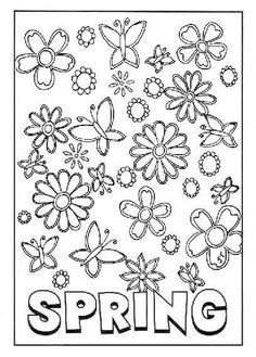 Greeting Cards Welcome Spring Day coloring picture for