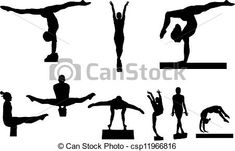 Gymnastic Silhouettes Royalty Free Cliparts, Vectors, And