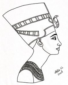 Download Queen Nefertiti On Papyrus Royalty Free Stock