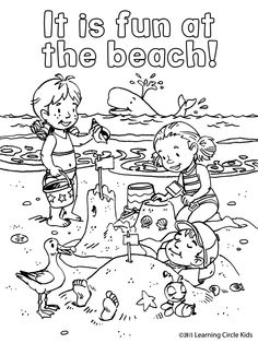Free coloring page. Children's summer fun at the beach