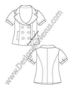 V24 Girls Blouse Childrens Fashion Technical Drawing Flat