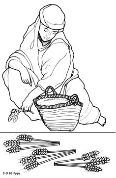 Story of Ruth. Coloring page, script and Bible story. http