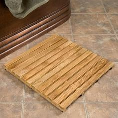 "36"" x 24"" rectangular bamboo bath mat 