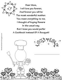 Mother's Day poem (hugs and kisses). Print them out and