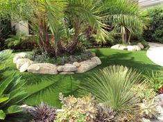 Tropical Front Yard Landscaping Front Landscape & Pool Waterfall