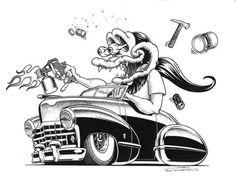 1930's Hot Rod Muscle Car Art Cartoon Tshirt FREE