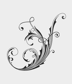 Ornate floral swirls vector. Set with classic style vector