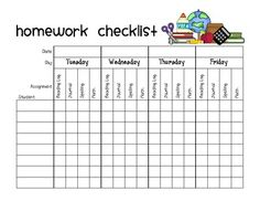 Try out this free weekly homework checkoff sheet! This
