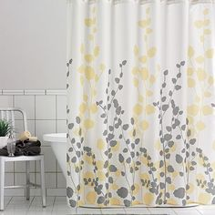 Chevron Gray Yellow Shower Curtain Chevron Shower Curtains