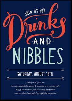 Drinks And Nibbles Corporate Party Invites From Tiny