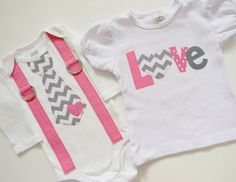 Valentines Day Pink And Gray Chevron Sibling Set Girls