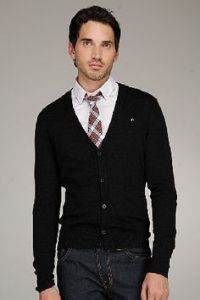 Men Sweater With Tie - Cardigan With Buttons