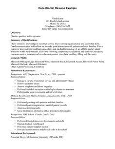 Receptionist Resume Interests Medical Receptionist Receptionist
