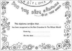Best Grandpa / Grandma coloring diplomas {Activity Village
