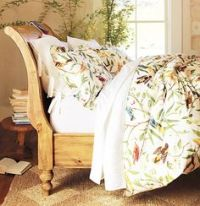pottery barn winter bird bedding with red silk channel