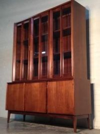 Mid-century danish modern china cabinet / hutch / bookcase ...