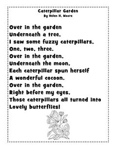 A poem about the Butterfly life cycle. Great for
