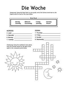 Spanish Days of the Week La Semana Crossword Puzzle