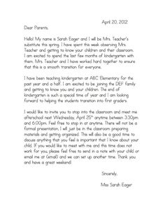 Letter To Send Home To Students Over The Summer To Welcome