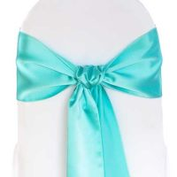 Tiffany and taupe wedding on Pinterest | Chair Sashes ...