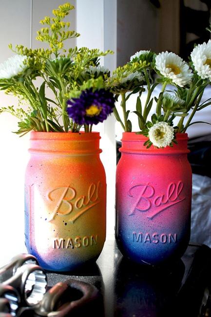 Neon Galaxy Mason Jars