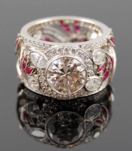 Platinum, Diamond and Ruby Ring