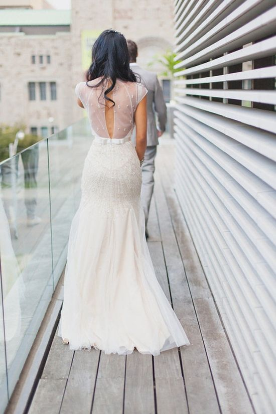 Jenny Packham Backless modest wedding dress low back bride bridal perfect sheer