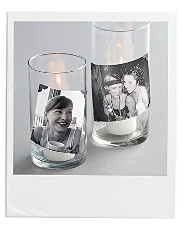 Simple photo candles to decorate reception tables