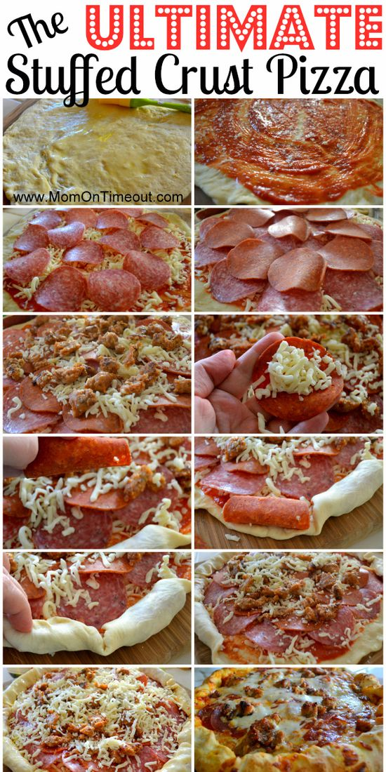 The Ultimate Stuffed Crust Pizza | Mom On Timeout #dinner #recipe
