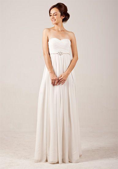 Elegant Sweetheart Empire Flowing Wedding Dress with Beadings