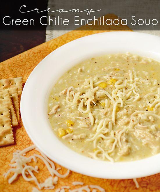 Creamy Green Chile Enchilada Soup
