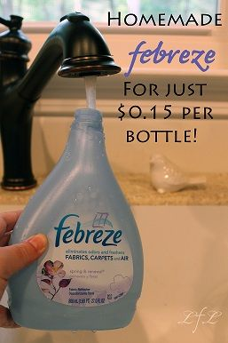 Homemade Febreze: What you'll need: 1/8 Cup of fabric softener, 2 tablespoon