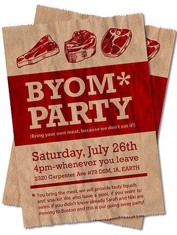 """bring your own meat"" BBQ party invitation @Heidi Freni : why do I  TOTALLY expe"