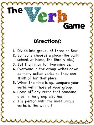 Fun game  for learning action verbs.