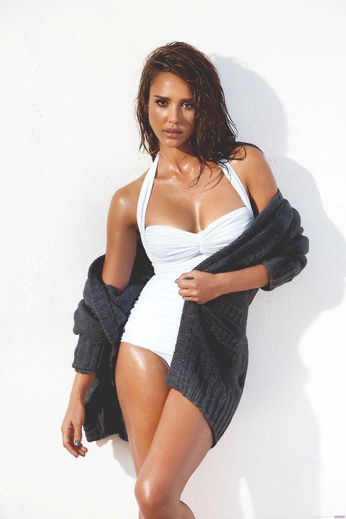 Jessica Alba – white bathing suit – one piece – sexy woman