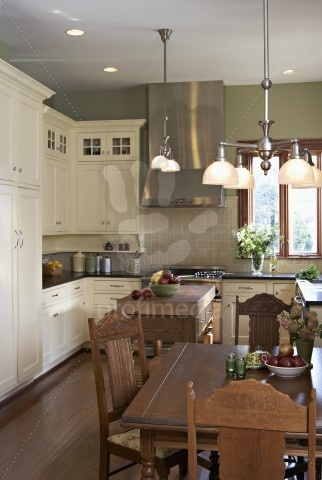 arts and crafts kitchen with white cabinets
