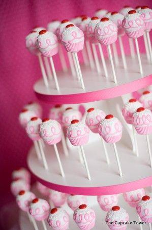 Cake Pop display tower…take 2-3 round pieces of styrofoam, layer them like a c