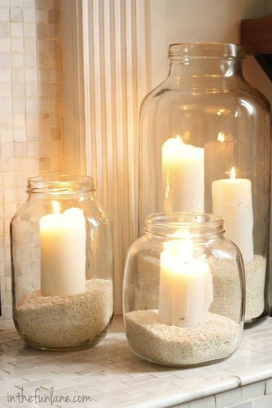 outdoor lighting on patio…just use old glass pickle, spaghetti, etc. jars Thin