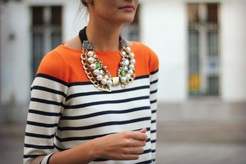 mega jewels & a striped top