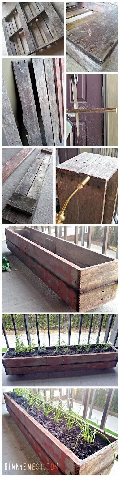 Old wood pallet made into a patio herb garden!