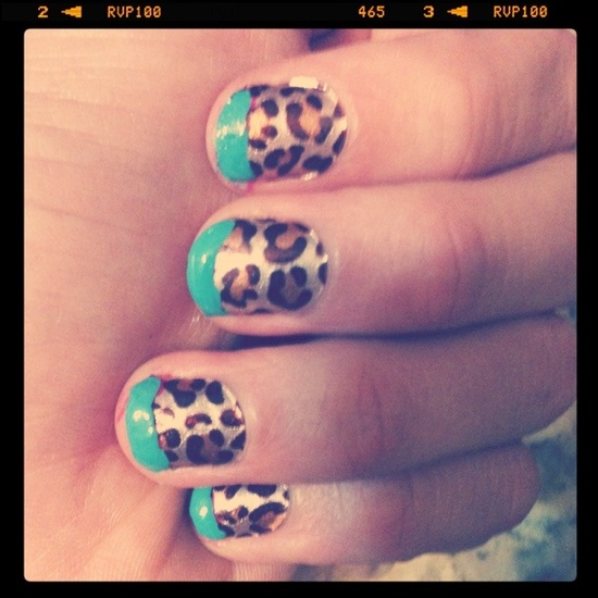 turquoise and cheetah nails